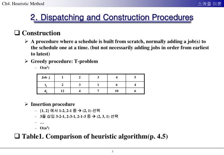 2. Dispatching and Construction Procedures