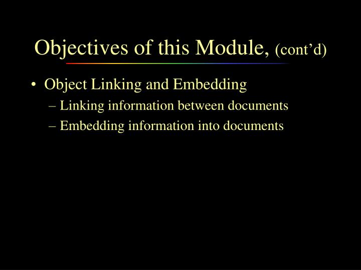 Objectives of this Module,