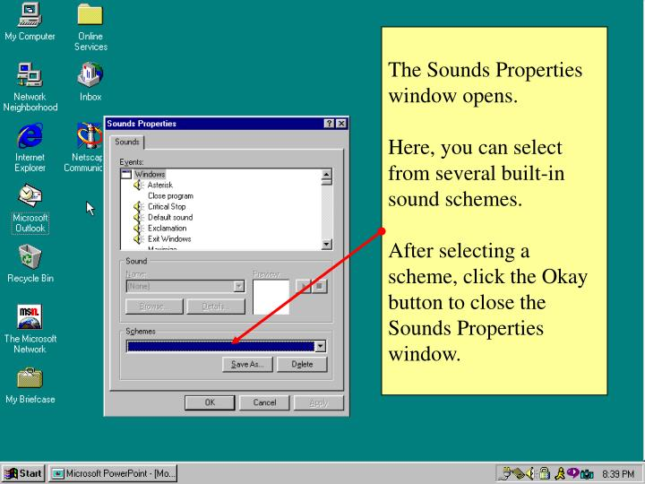 The Sounds Properties window opens.