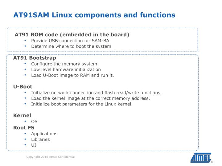 AT91SAM Linux components and functions