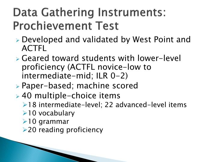 Data Gathering Instruments: