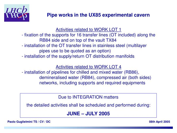 Pipe works in the UX85 experimental cavern