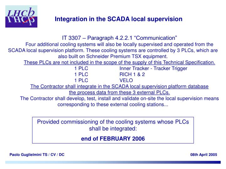 Integration in the SCADA local supervision