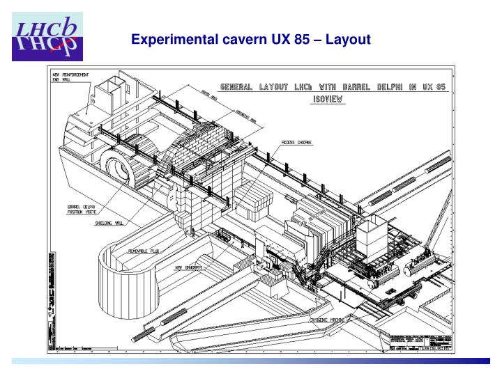 Experimental cavern UX 85 – Layout