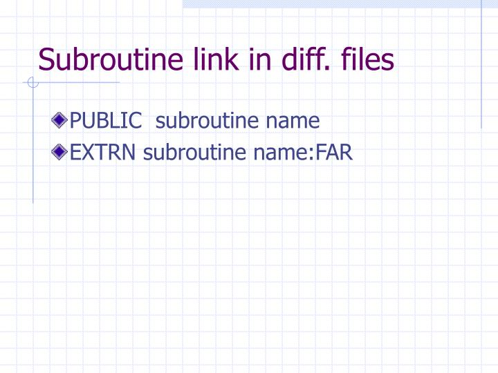 Subroutine link in diff. files