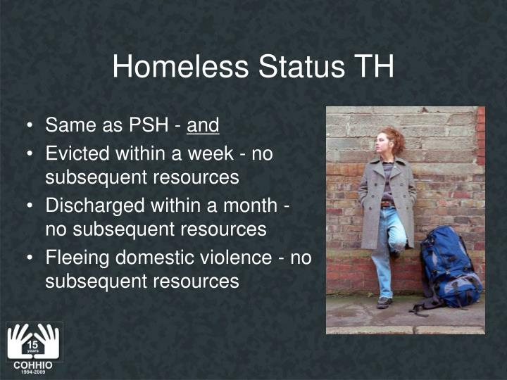 Homeless Status TH