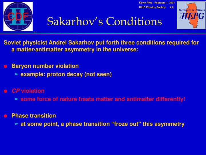 Sakarhov's Conditions