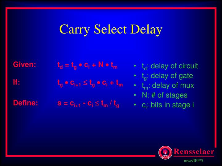 Carry Select Delay