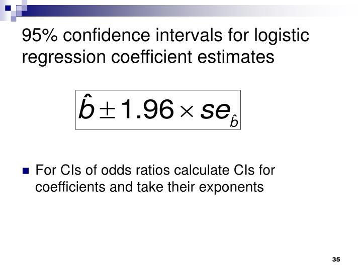 95% confidence intervals for logistic regression coefficient estimates