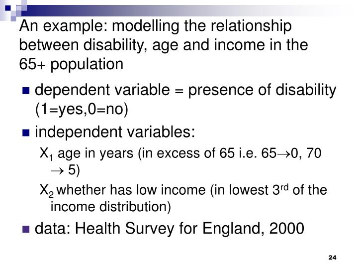 An example: modelling the relationship between disability, age and income in the 65+ population