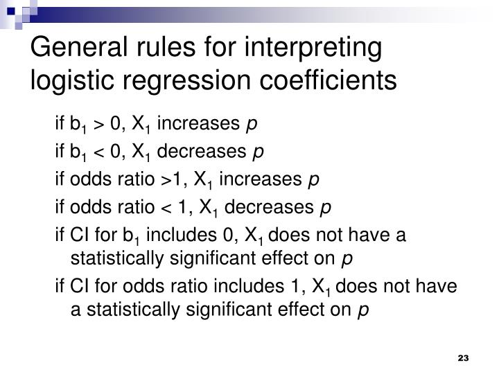 General rules for interpreting logistic regression coefficients