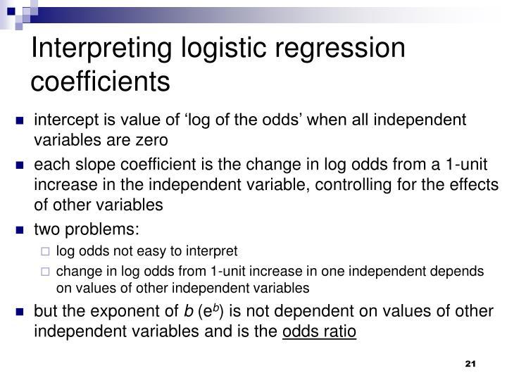 Interpreting logistic regression coefficients