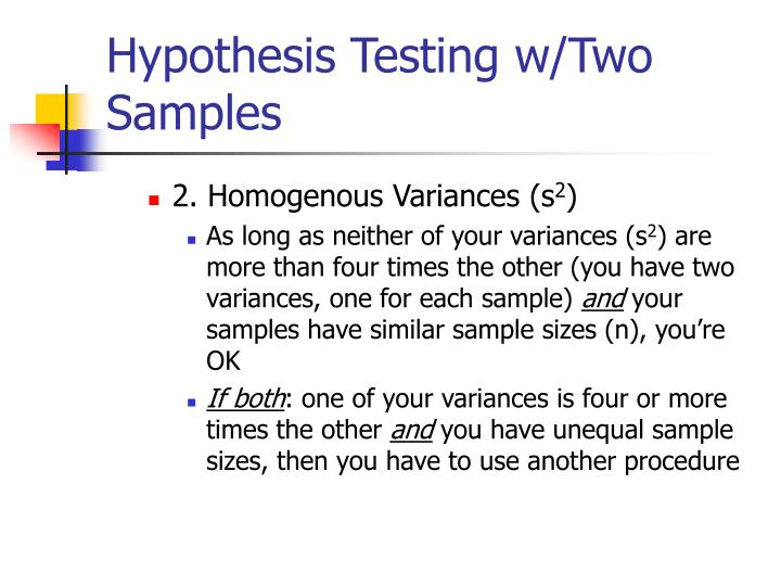 Hypothesis Testing w/Two Samples
