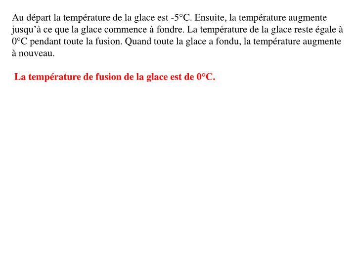 Au départ la température de la glace est -5°C. Ensuite, la température augmente jusqu'à ce que la glace commence à fondre. La température