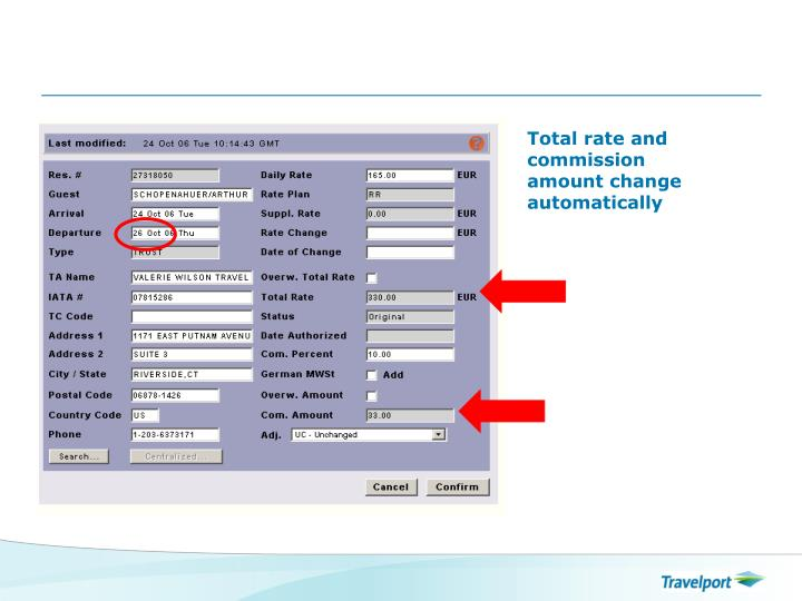 Total rate and commission amount change automatically