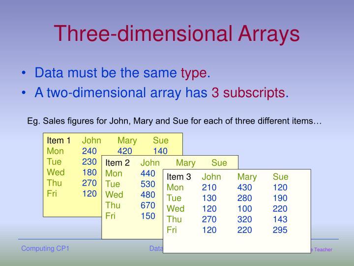 Three-dimensional Arrays