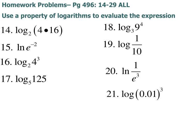 Homework Problems– Pg 496: 14-29 ALL