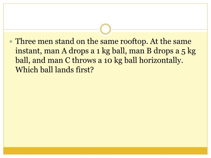 Three men stand on the same rooftop. At the same instant, man A drops a 1 kg ball, man B drops a 5 kg ball, and man C throws a 10 kg ball horizontally. Which ball lands first?