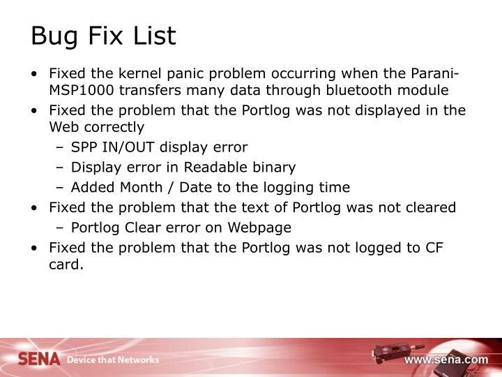 Bug Fix List