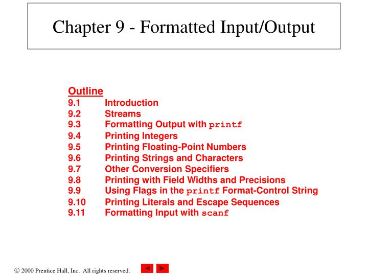 Chapter 9 formatted input output