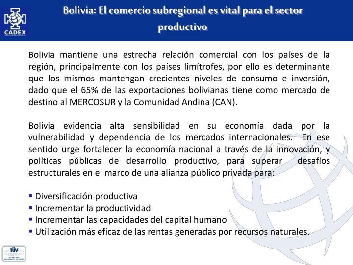 Bolivia: El comercio subregional es vital para el sector productivo