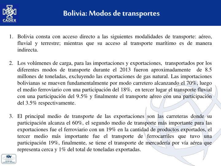 Bolivia: Modos de transportes