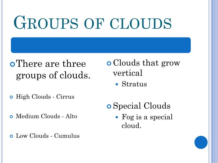 Groups of clouds