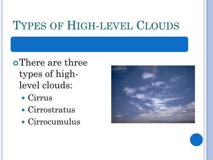 Types of High-level Clouds