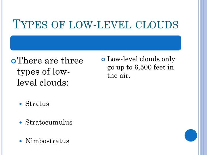Types of low-level clouds