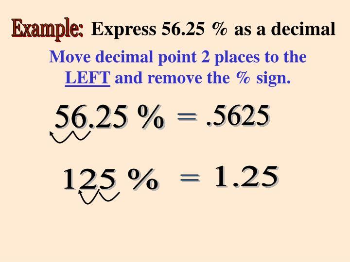 Express 56.25 % as a decimal