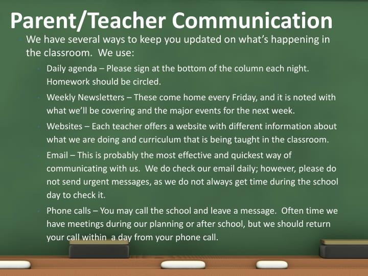 Parent/Teacher Communication