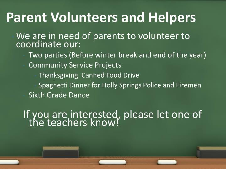 Parent Volunteers and Helpers