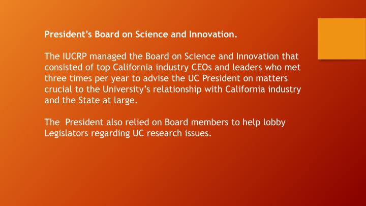 President's Board on Science and Innovation