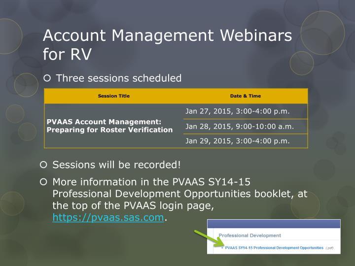 Account Management Webinars for RV