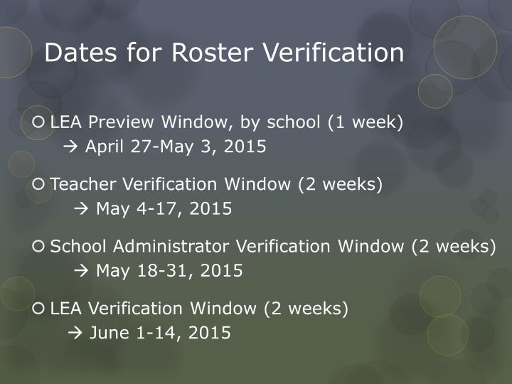 Dates for Roster Verification