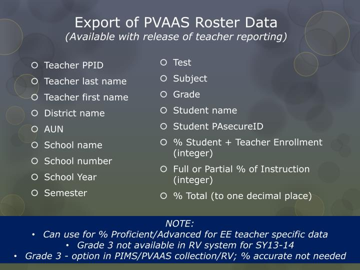 Export of PVAAS Roster Data