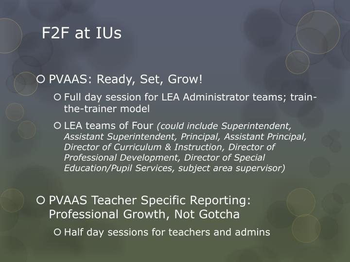 F2F at IUs
