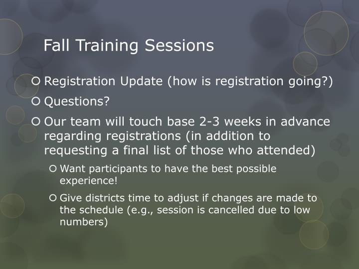 Fall Training Sessions