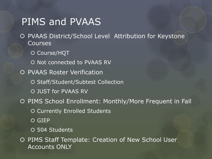 PIMS and PVAAS