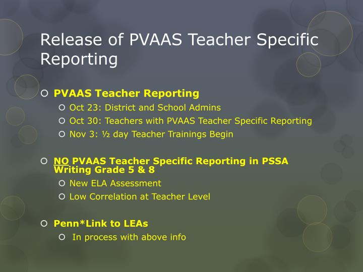 Release of PVAAS Teacher Specific Reporting