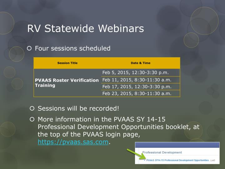 RV Statewide Webinars
