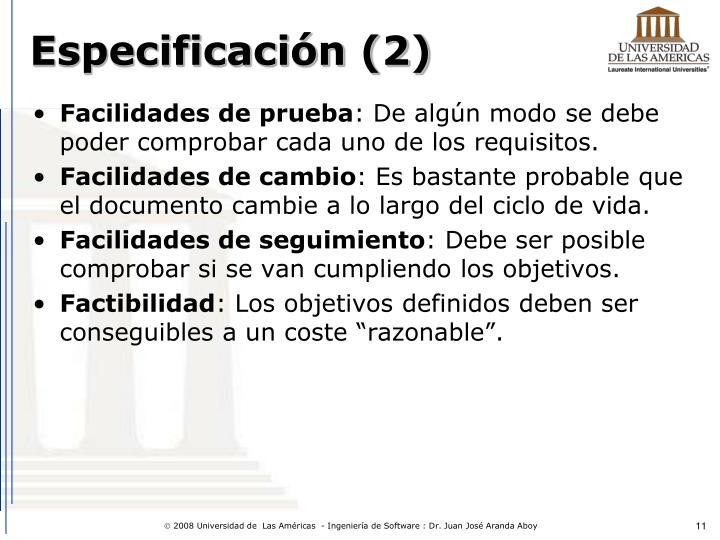 Especificación (2)