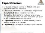 especificaci n