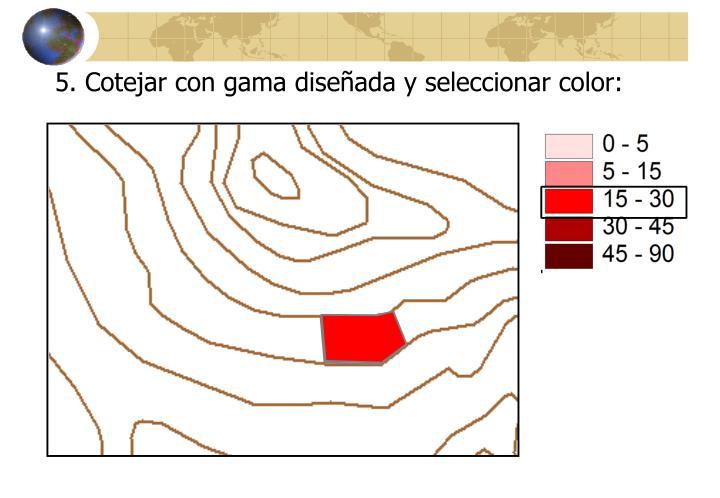 5. Cotejar con gama diseñada y seleccionar color: