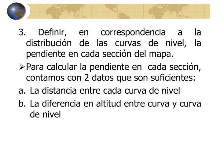 3. Definir, en correspondencia a la distribución de las curvas de nivel, la pendiente en cada sección del mapa.