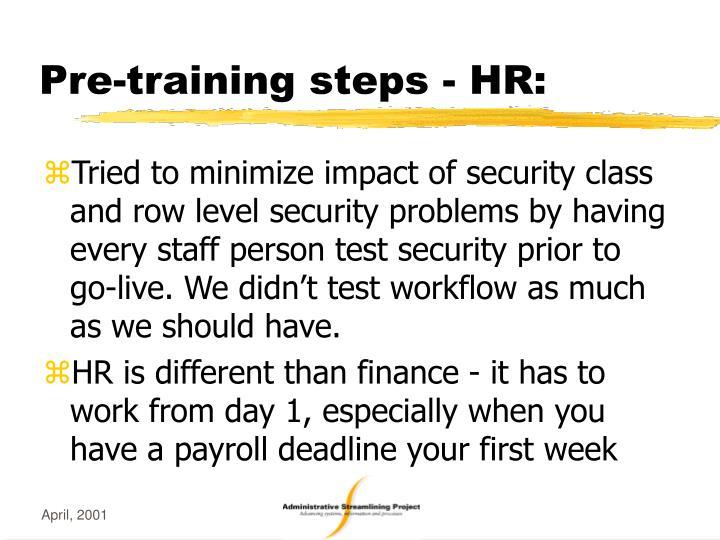 Pre-training steps - HR: