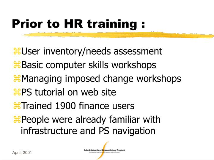 Prior to HR training :