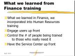 what we learned from finance training