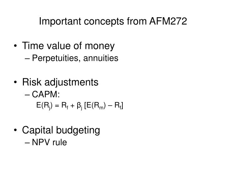 Important concepts from AFM272