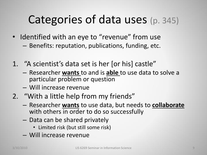 Categories of data uses